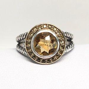 David Yurman Citrine Sapphires Cerise Ring 925/18K
